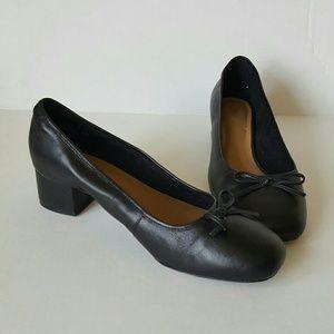 Clarke's retro heeled ballerina shoes